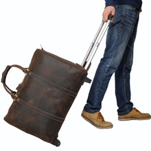 Tiding Leather Travel Luggage Bags Cowhide Suitcase On Wheels Retro Style Rolling Duffle Bag Cross Body bag 11883(China (Mainland))