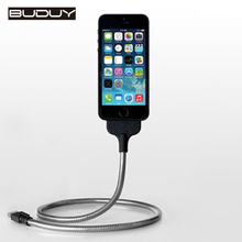 Newest Design Luxury Metal 2 In 1 Phone Charger USB Cable With Holder Feature For iPhone6 5S 6S Plus Charging
