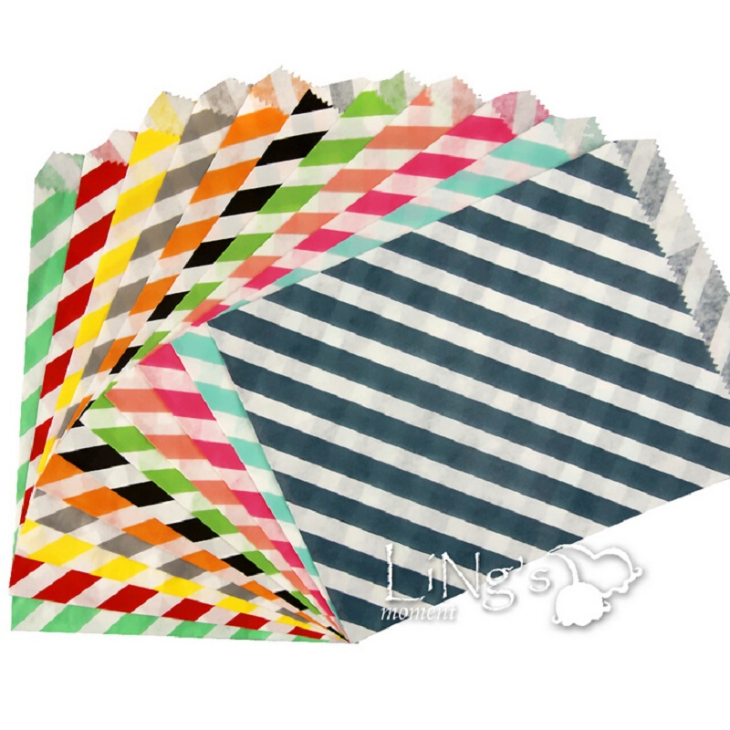 "25pcs/lot, 5"" x 7"" 11 Colors Striped Design Popcorn Craft Party Treat Paper Favor Bags for Gifts and Candy(China (Mainland))"