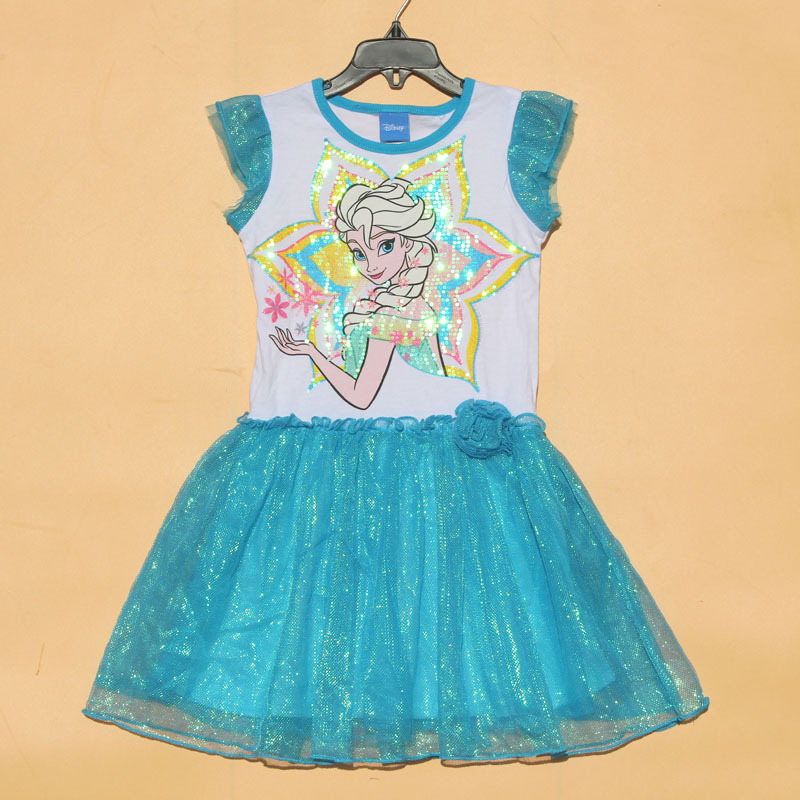 Free Shipping 6 pieces/lot NEW 4-6X Blue Color Else Princess Short Sleeve Summer Dress