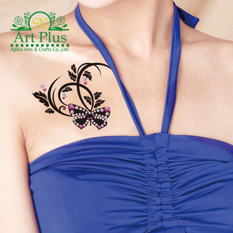 new sale elegant sex products flash tattoo 3D butterfly tattoo flash black tattoo+colorful crystal summer style crystal tattoo(China (Mainland))