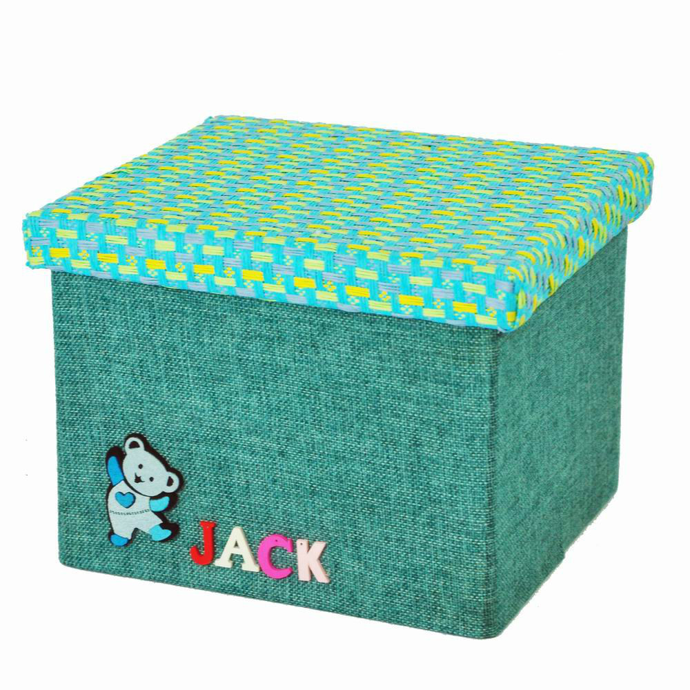 Free shipping 10L cute Clothing and toy makeup organizer basket linen with words and cover folding storage box storage container(China (Mainland))