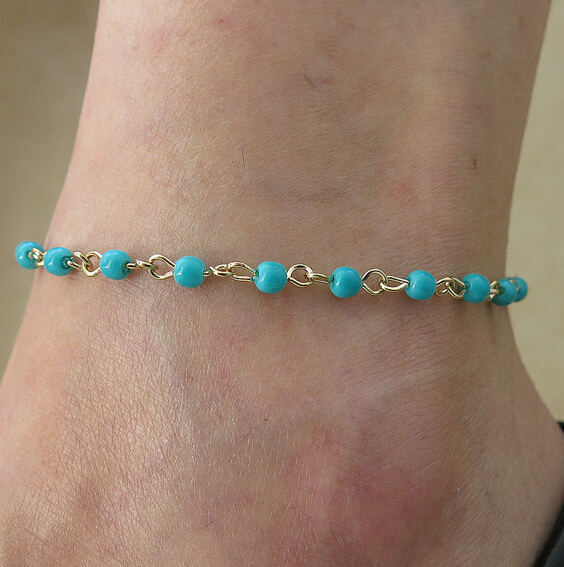 Bohemian Bead Charms Anklet Bracelet Foot Barefoot Sandal Beach Ankle Gold Chain