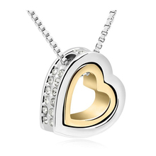 Heart Crystal Necklaces Pendants 18K Gold And Silver Plated Jewellery & Jewerly 2016 Necklace Women Fashion Jewelry Wholesale(China (Mainland))