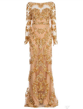 Champagne Evening Dress 2016 Vestidos de Noche Cortos Elegant Long Sleeves Evening Dresses Gown(China (Mainland))