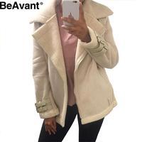 BeAvant Vintage suede lambswool jacket coat Winter warm hairly collar black short jacket Women autumn 2016 belt female overcoat
