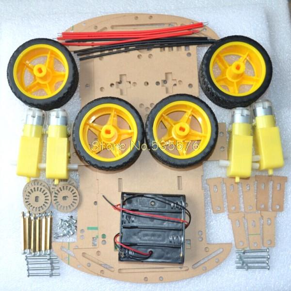 Free shipping 4WD Smart Robot Car Chassis Kits with Speed Encoder New smart car chassis(China (Mainland))