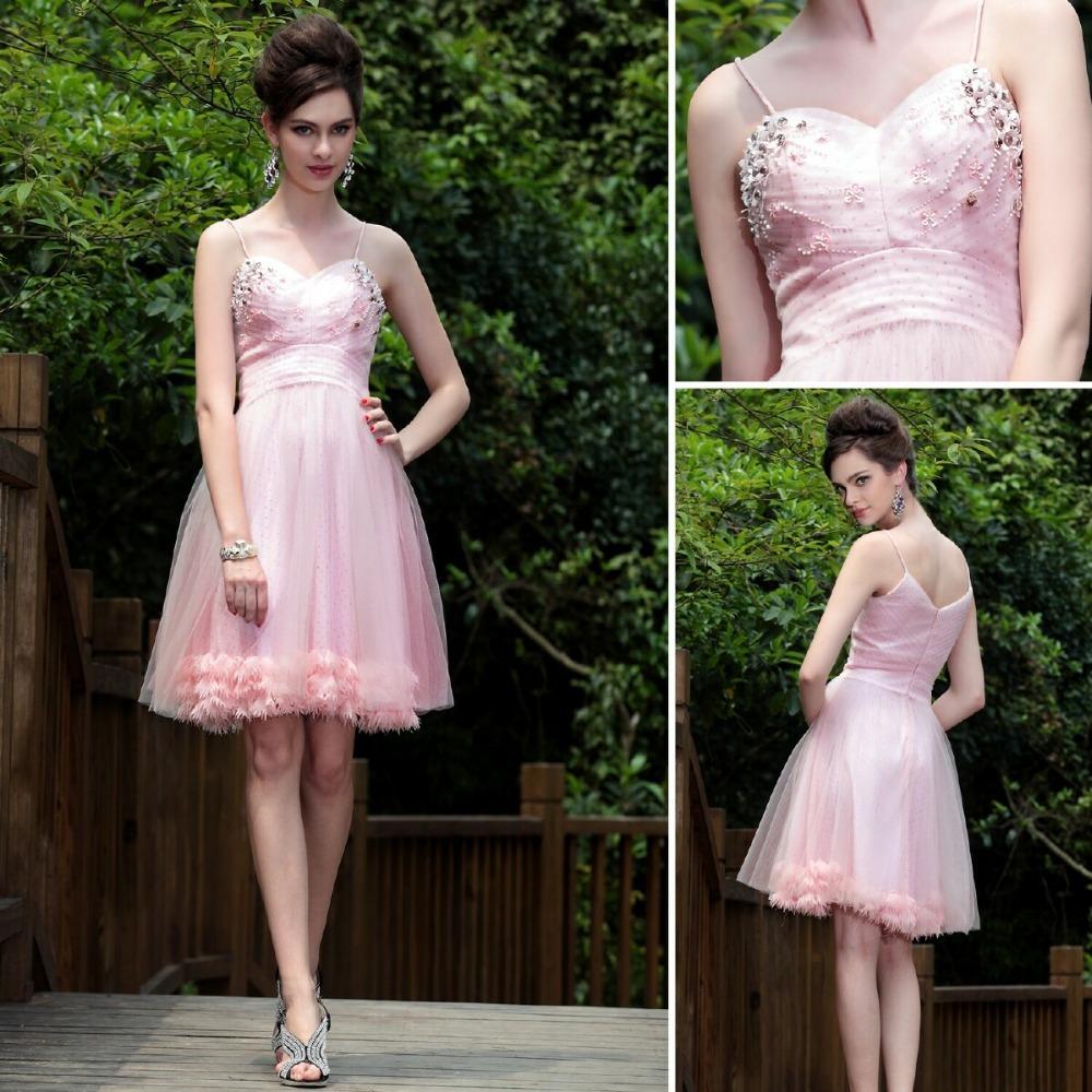 2015 spring bridesmaid dress spaghetti straps short dress for Short spring wedding dresses