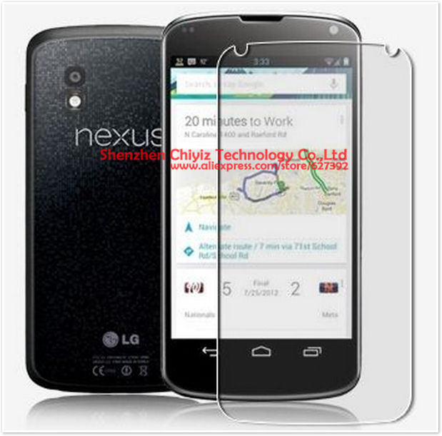 2 x High Quality Clear Glossy Screen Protector Film Guard Cover For LG E960 Nexus 4 Mako Front Only(China (Mainland))