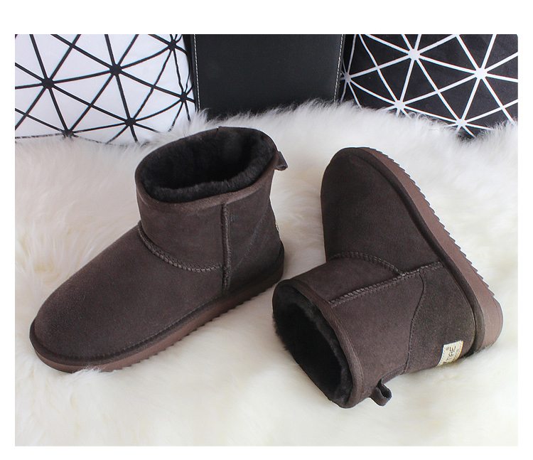 BLIVTIAE/Luxury Sheepskin Snow Boots Australia Winter Sheep Fur Wool Snow Boots Classic Thick  Middle Button Women Leather Shoes
