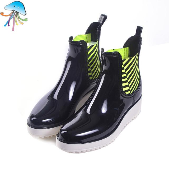 2016 женщин Без Скольжения Мартин Короткие Лодыжки Дождь Сапоги Удобная Мягкая Прогулки Непромокаемые Rainshoes для Леди Botas Mujer Lluvia