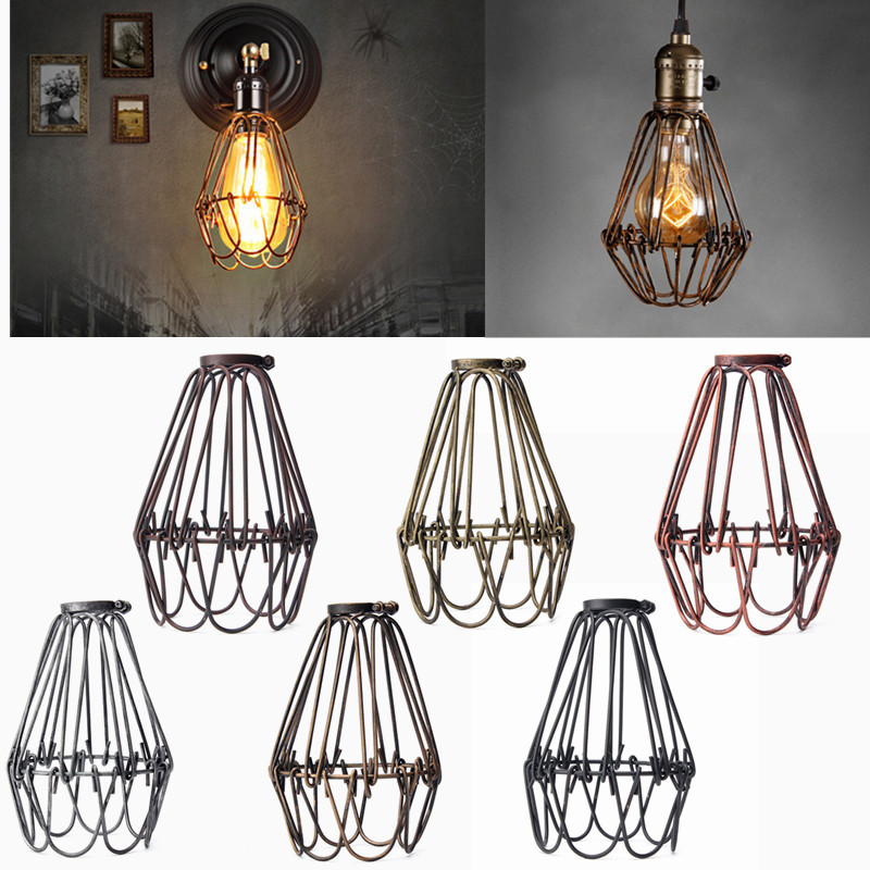 Retro Vintage Industrial Lamp Covers Pendant Trouble Light Bulb Guard Wire Cage Ceiling Fitting Hanging Bars Cafe Lamp Shade(China (Mainland))