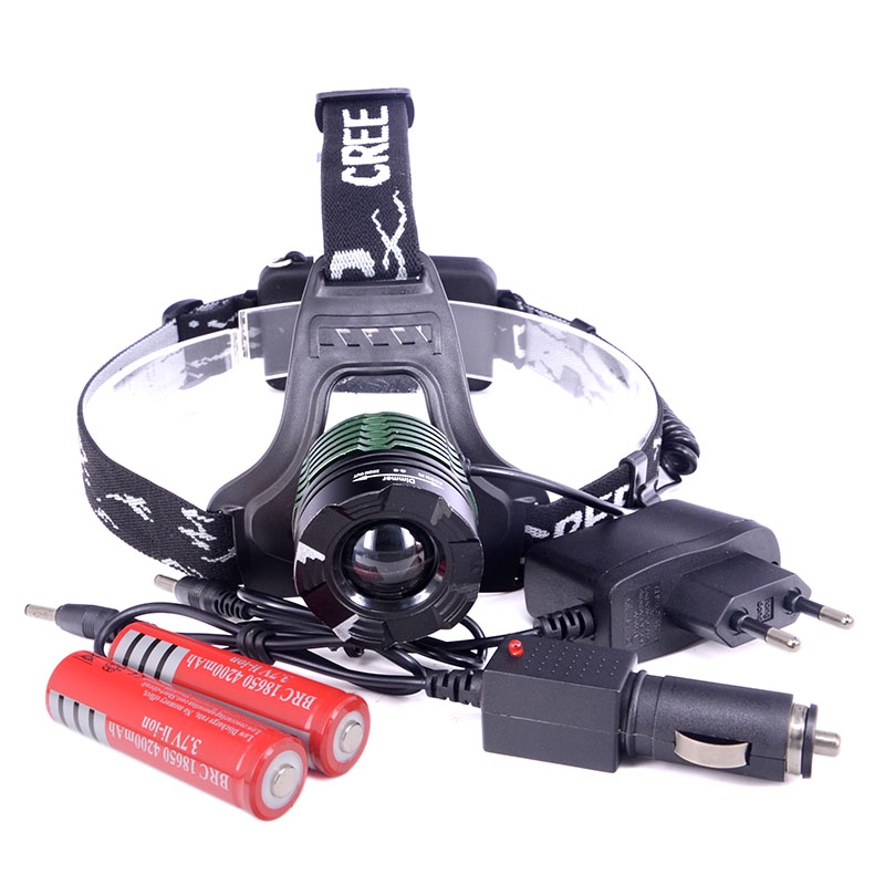 New Arrival 2000Lumen Hunting Lights CREE XML T6 zoomable LED Rechargeable Hiking Lamp+2x 18650 Battery+AC/Car charger(China (Mainland))
