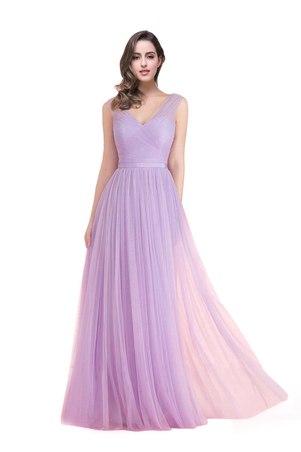 In Stock Cheap Crepe Pleat Girls Junior Camo Lilac Bridesmaid Dresses 2016 A line Floor Length Girls Pageant Dress(China (Mainland))