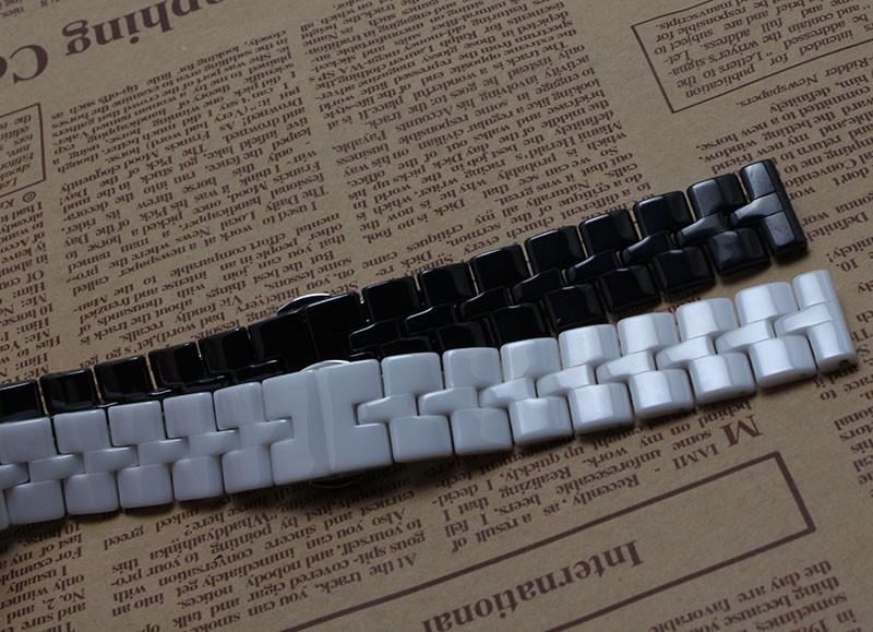 Высший Сорт Тоньше Керамические часы браслет 16 мм белый черный смотреть полоса ремешок Бабочки Пряжки браслет для кварца новый