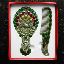 Antique Bronze Hand Enameled & Rhinestones Jeweled Peacock Design Zinc Alloy Hand Mirror and Comb Set(China (Mainland))