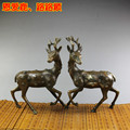 A pair of Sika deer loving copper ornaments home decor craft mascot antique collection copper bronze