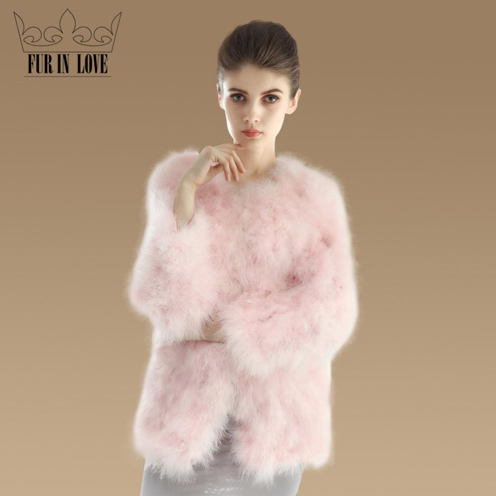 2016 New Fashion Real Turkey Fur Coat For Women Nature Turkey Fur Jacket 100% Genuine Fur Outwear