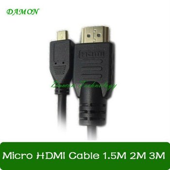 200pcs/lot 1M gold plated Micro HDMI cable A type to D type cable Full HD 1080P resulation free shipping