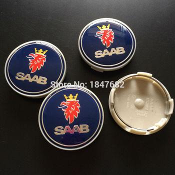 High quality 4pcs plastic blue 63MM saab badge LOGO WHEEL Hub Center Caps Fits for BJ SCS SAAB auto accessories