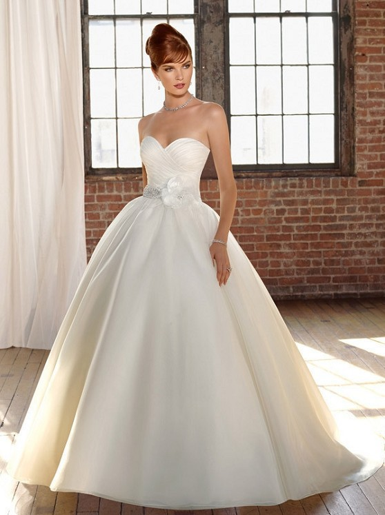 Simple Plain Elegant Wedding Dress Wv Sweetheart Neck Organza Ball Gown