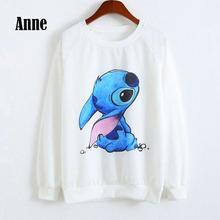 Anne women fall 2015 new fashion brand lilo and stitch hoodie sudaderas mujer casual jogging femme women hoodies sweatshirts K(China (Mainland))