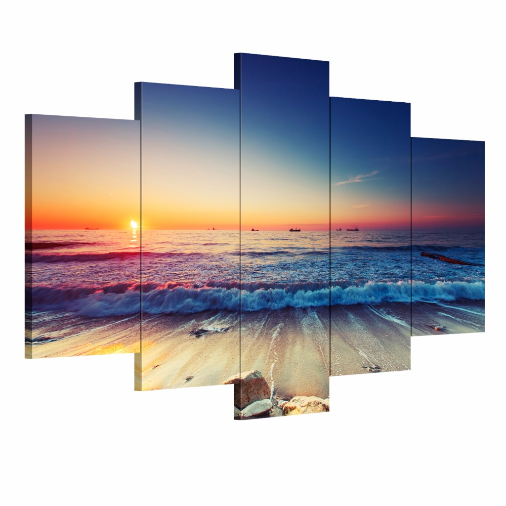 5 Pieces Modern Wall Art Canvas Unframed Modular Sunrise Panel Print Painting Decorative Sunset Seascape Picture Home Decor(China (Mainland))