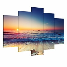 5 Pieces Modern wall art canvas printed painting decorative Sunset Seascape picture for Home Decor unframed panel art canvas(China (Mainland))