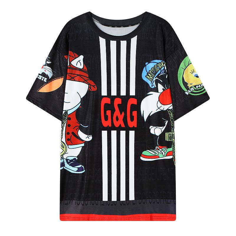 Casual fashion brand women summer style Mesh T Shirts Anime Bugs Bunny/cat/duck Tops/Tees plus size blusa camisetas femininas(China (Mainland))