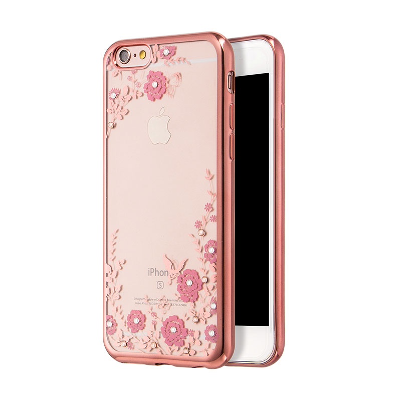 Luxury Brand Flora Diamond Case for iPhone 6 6S Case Flower Bling Glitter Transparent Soft TPU Clear Phone Back Cover for Girl(China (Mainland))