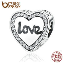 Buy BAMOER 4 Styles 925 Sterling Silver Love Heart Life Round Alphabet Charms Fit Bracelets Necklaces Women Fashion Jewelry SCC089 for $7.99 in AliExpress store