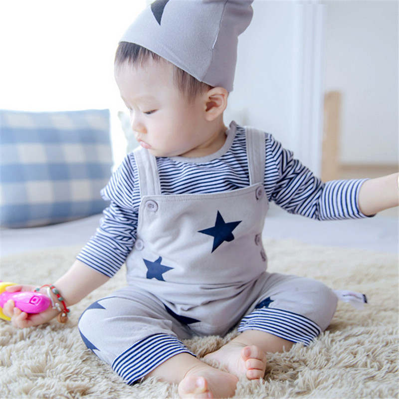 2015 New Hot Sale 3 Pcs Carters Baby Clothing Set Unisex Bebe Long Sleeve T Shirt + Rompers +Hats Toddler Infant Clothes(China (Mainland))