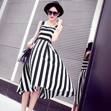 Pop style fashion color stripe print chiffon fabric black and white striped fabric blue white 4 color into(China (Mainland))
