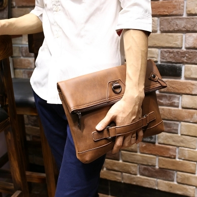 2016 Vintage Crazy Horse PU Leather Men Envelope Clutch Bag High Quality Comfortable Soft Shoulder Messenger Bag(China (Mainland))