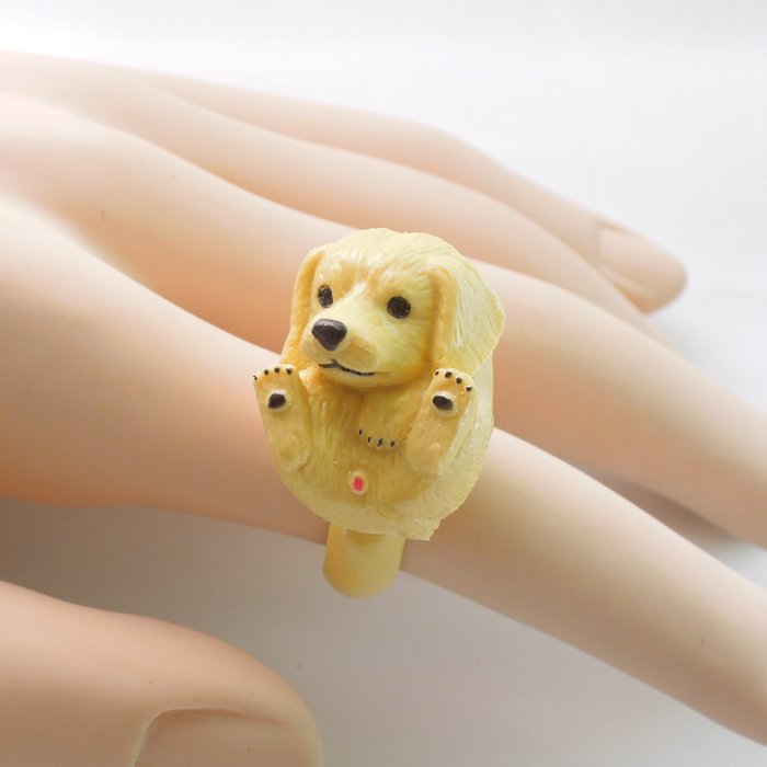 Fashion animal ring 2015 cute Golden Retriever rings trency jewelry funny animal ring healthy Resin dog rings(China (Mainland))