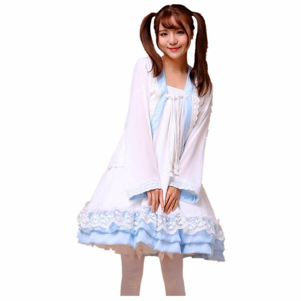 Free Shipping Girl Chiffon/ Lace Lolita Dress Han Chinese Clothing Cosplay Costume Women Maid Dress Halloween Party Clothes Set(China (Mainland))