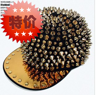 Hedgehog Punk Hiphop Unisex Hat Gold Spikes Spiky Studded Cap,free shipping(China (Mainland))