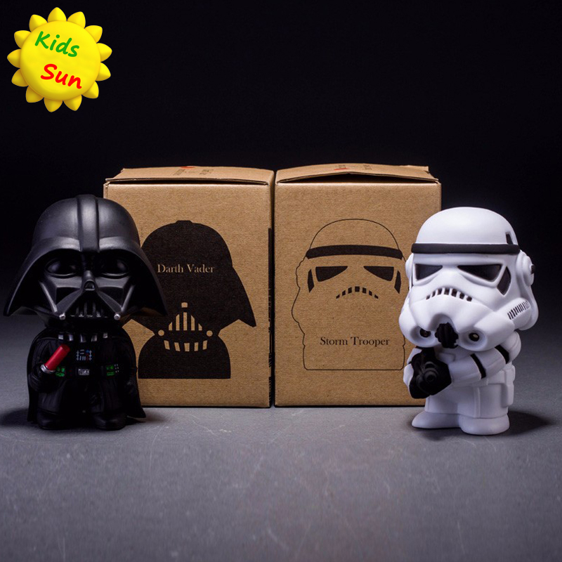 10cm 2pcs/lot Q Style Star War Darth Vader & STORM TROOPER Action Figure Model Toy Come with Retail Box(China (Mainland))