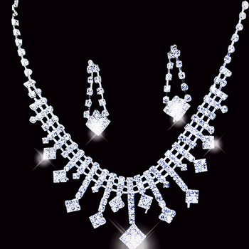 A036 Fashion Neckace earrings Rhinestone Jewelry sets for Wedding Bride Party Gifts O-QXL006-12 wholesale
