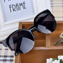 High Quality 2016 New Fashion Retro Designer Super Round Circle Glasses Cat Eye Semi-Rimless Women's Sunglasses Glasses Goggles