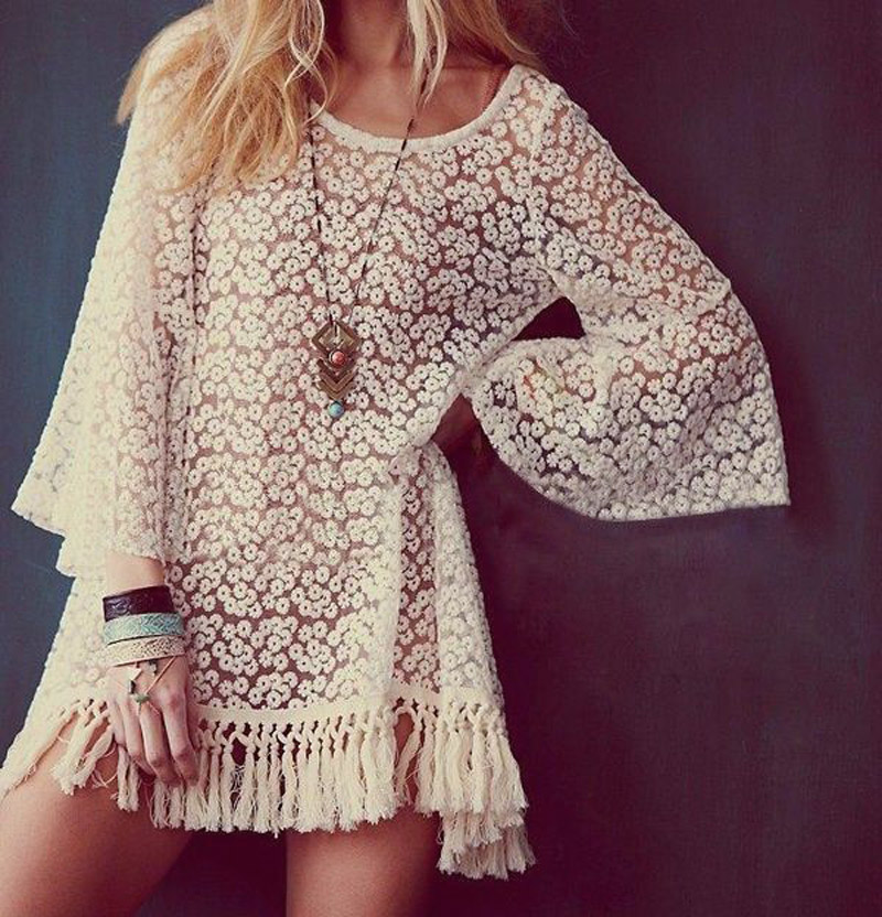 2016 New Vintage Hippie Boho Bell Sleeves Gypsy Festival Fringe Shirt Lace Embroidery Dress Blouse Apricot Ruffle Tassel - Shenzhen Gache Trading Limited store