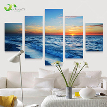 5 Panel Modern Prints Beach Seascape Oil Painting Sea Wave Sunset Painting Cuadros Wall Picture For Living Room(No Frame) PR1011(China (Mainland))