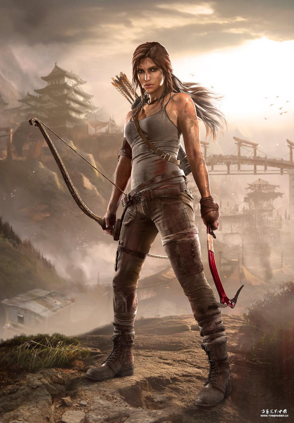 P0416 TOMB RAIDER POSTER LARA STANDING WITH A BOW GAME Poster china supplier 24X33(China (Mainland))