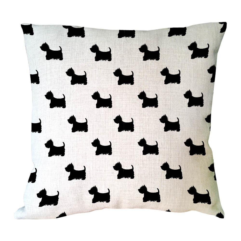 various dog and elephant black shadow printed animal throw pillow cover decorative cotton linen cushion covers