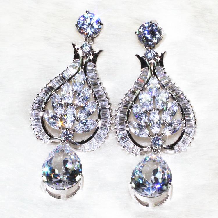 Noble heart connection drop earrings Pure handicraft skills Flashing charming AAA zircon,96 stone grain ALW1867<br><br>Aliexpress