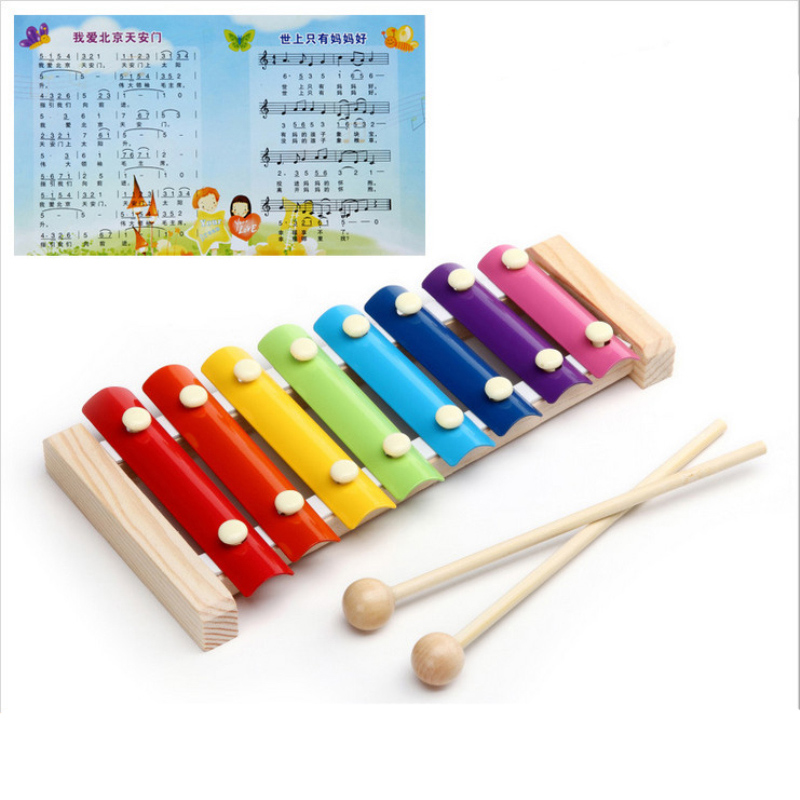 Infant Yizhi Music Baby Wooden Toys For Children Education Hand Knock Piano Octave Musical Instruments Keyboard Fun(China (Mainland))