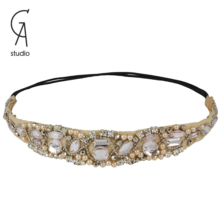 2015 trendy Style Women elastic HairBand Crystal Rhinestone Beaded Headband retro elegant Hair Band 10pcs/lot(China (Mainland))