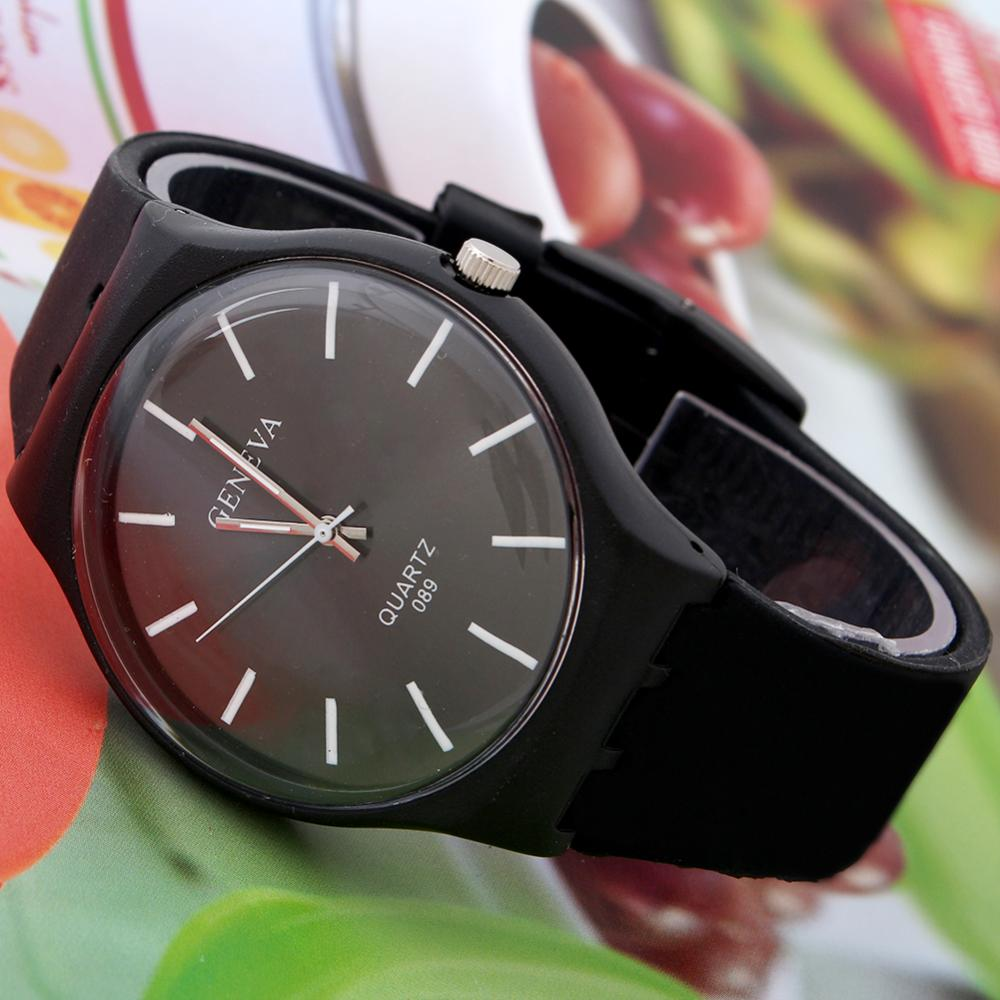Accurate Stylish Men Fashion Silicone Thin Dial Band New Black Simple Design Quartz Wrist Watch Mens Watches(China (Mainland))