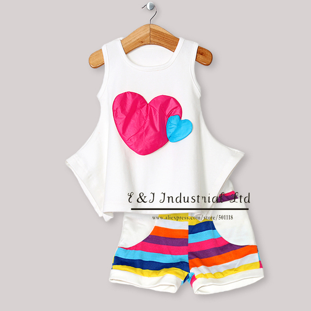 Newest Baby Girls Clothing Set Sleeveless Lovely T Shirt And Soft Rainbow Pants Children Wear Kids Clothes CS30301-17^^EI