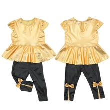 Factory Price, Fashion Baby Girls Kids T-Shirt Tops+ Legging Pants Children Clothes Sets Suit Outfits Golden+Black(China (Mainland))